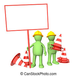 3d puppets with emergency cones - Two 3d puppets with...