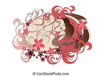 Undine - The girl\'s head in the pattern of hair and flowers