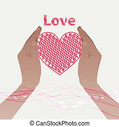 two hands holding a pink heart with the line