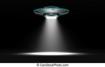 Vintage UFO isolated on black. 3d illustration