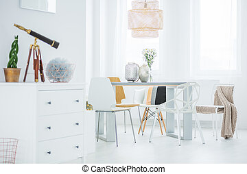 Functional flat with dining table - White, functional flat...