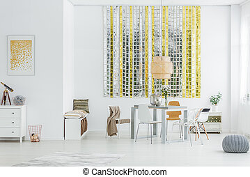 Trendy loft with wall decor - Trendy loft with gold and...