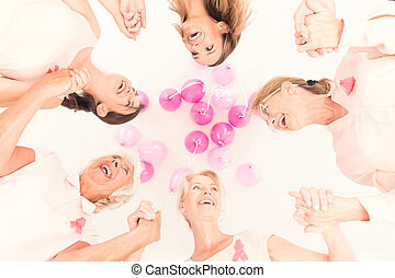 Women stick together - Group of happy women stick together...