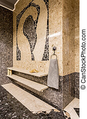 Modern bathroom with ethnic patterns - Part of a modern...