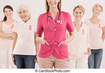 Group of women and cancer - Group of happy women with pink...