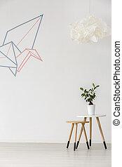 Minimalist white interior - Origami graphic- simple...