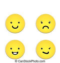 Vector set of yellow smiley faces