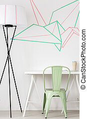 Inspiring teenager room with decorative origami on the wall