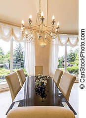 Elegant dining room with chandelier - Elegant dining room...