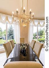 Elegant dining room with chandelier - Elegant dining room...