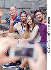 Photo by smartphone - Group of happy friends having photo...