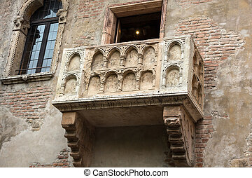 Juliet balcony in Verona. Romeo and Juliet is a tragedy...