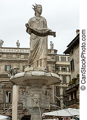 Detail of the Fountain of Madonna Verona in Piazza delle...