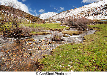 Meltwater river of snow mountains