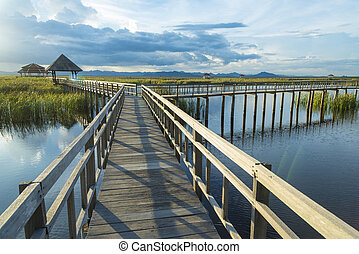 Wooden bridge and lake in Sam Roi Yod National Park,...