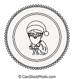monochrome contour circle with santa claus with glasses...