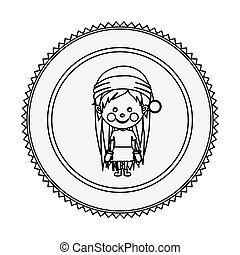 monochrome contour circle with girl with christmas clothes...