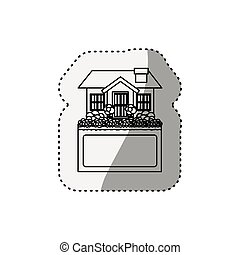 sticker silhouette small house design with label vector...
