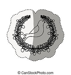 sticker silhouete circular pattern with pigeons vector...