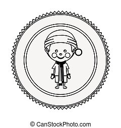 monochrome contour circle with boy with christmas clothes...