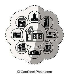 sticker silhouette pattern with houses logo design in bubbles