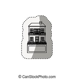 sticker silhouette house with two floors and balcony vector...