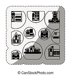 sticker silhouette pattern with houses logo design