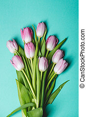 Pink tulips on blue background - Bouquet of pink tulips on...