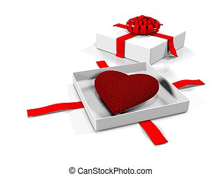 Heart in a gift box, isolated on white background, 3d render
