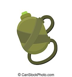 Camping or traveling green water flask isolated on a white...