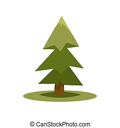 Green fur tree isolated on white in simple flat style -...