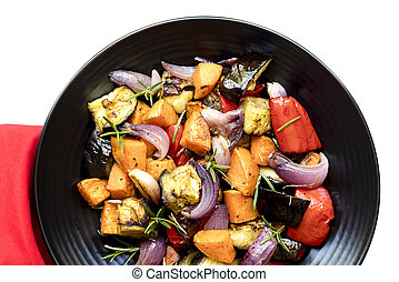 Roasted Vegetables on Black Platter over white