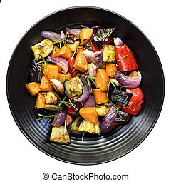 Roasted Vegetables on Black Platter Top View Isolated