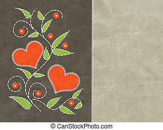 Valentine background - Leather valentine background with red...