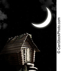 Witches hut - Dark series - witches hut and moon