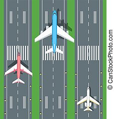 Set of Aviation Vector Airplanes on Runways - Set of...