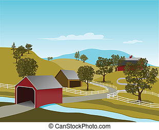 Covered Bridge Scene - Illustration of a covered bridge in a...