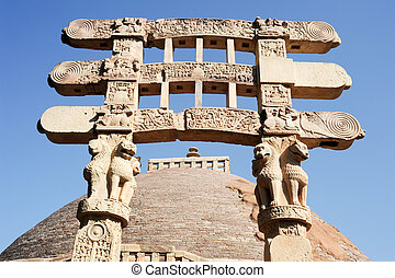 Detail of the gate at Great Buddhist Stupa in Sanchi, Madhya...