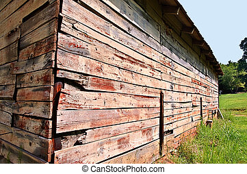 Corner of an Old Barn - An old barn in a pasture, close up.