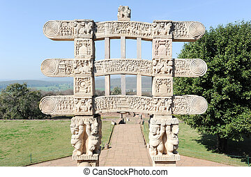 Detail of the gate at Great Buddhist Stupa in Sanchi, India...