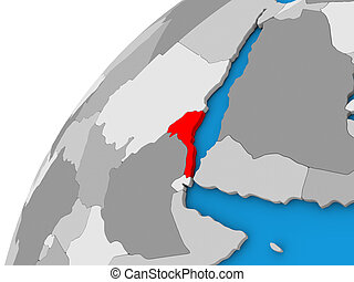 Eritrea on globe in red - Eritrea highlighted in red on...