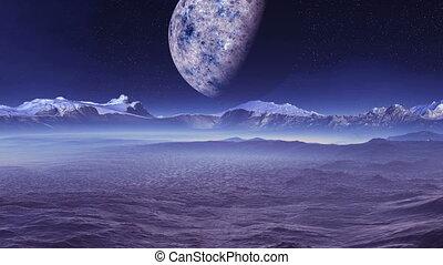 Big Moon Over An Alien Planet - In the dark starry sky,...