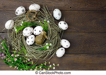 Top view easter background.Happy easter eggs pained also...