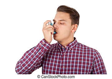 Asthma attack at young age - Picture of a young man having...