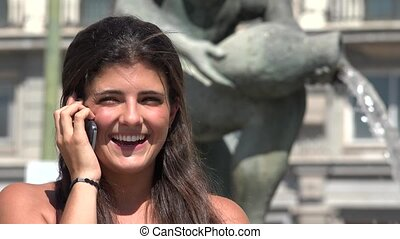 Happy Woman Talking On Cell