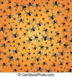 Spiders on webs seamless pattern