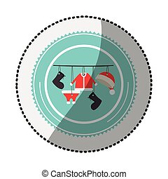 color circle with middle shadow sticker with santa clothes hanging