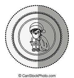 monochrome circle with middle shadow sticker with santa...