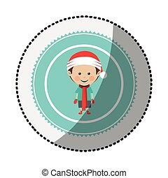 color circle with middle shadow sticker with boy with...