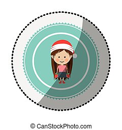 color circle with middle shadow sticker with girl with...